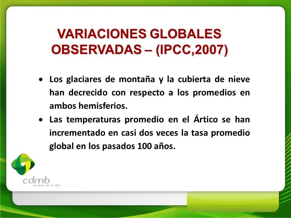 VARIACIONES GLOBALES OBSERVADAS – (IPCC,2007) Los glaciares de montaña y la cubierta de nieve han decrecido con respecto a los promedios en ambos hemi