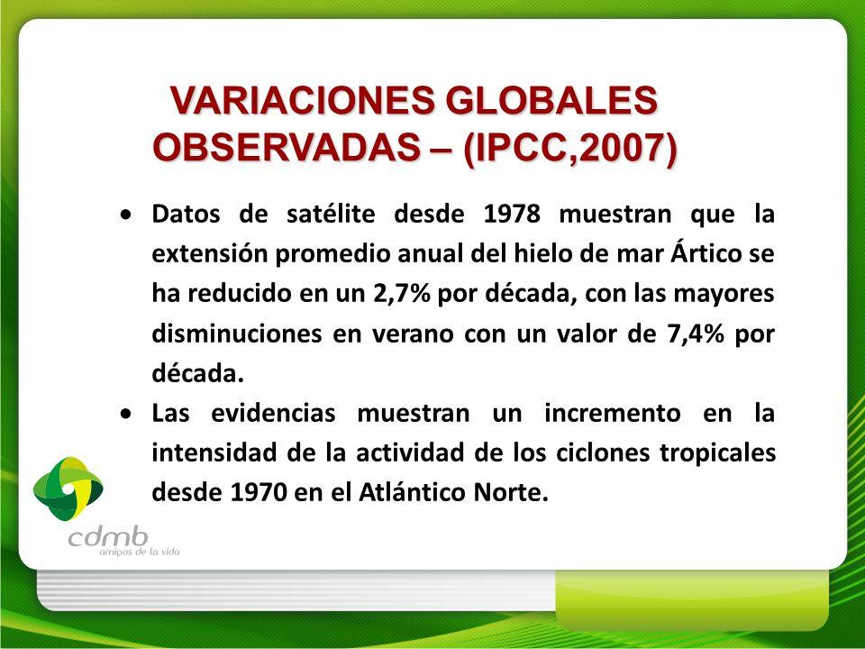 VARIACIONES GLOBALES OBSERVADAS – (IPCC,2007) Datos de satélite desde 1978 muestran que la extensión promedio anual del hielo de mar Ártico se ha redu