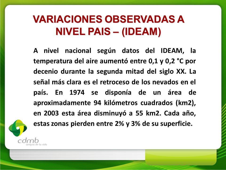 VARIACIONES OBSERVADAS A NIVEL PAIS – (IDEAM) A nivel nacional según datos del IDEAM, la temperatura del aire aumentó entre 0,1 y 0,2 °C por decenio d