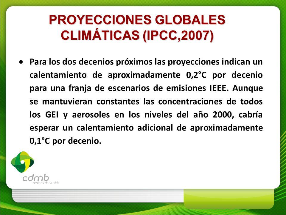 PROYECCIONES GLOBALES CLIMÁTICAS (IPCC,2007) Para los dos decenios próximos las proyecciones indican un calentamiento de aproximadamente 0,2°C por dec