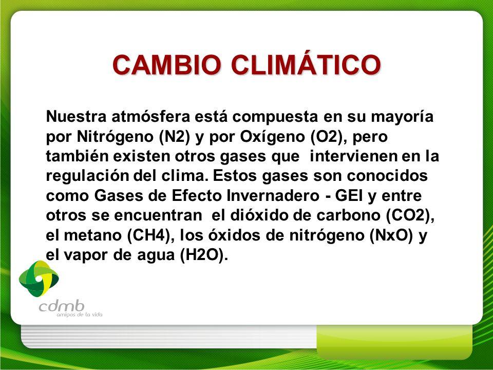 Nuestra atmósfera está compuesta en su mayoría por Nitrógeno (N2) y por Oxígeno (O2), pero también existen otros gases que intervienen en la regulació