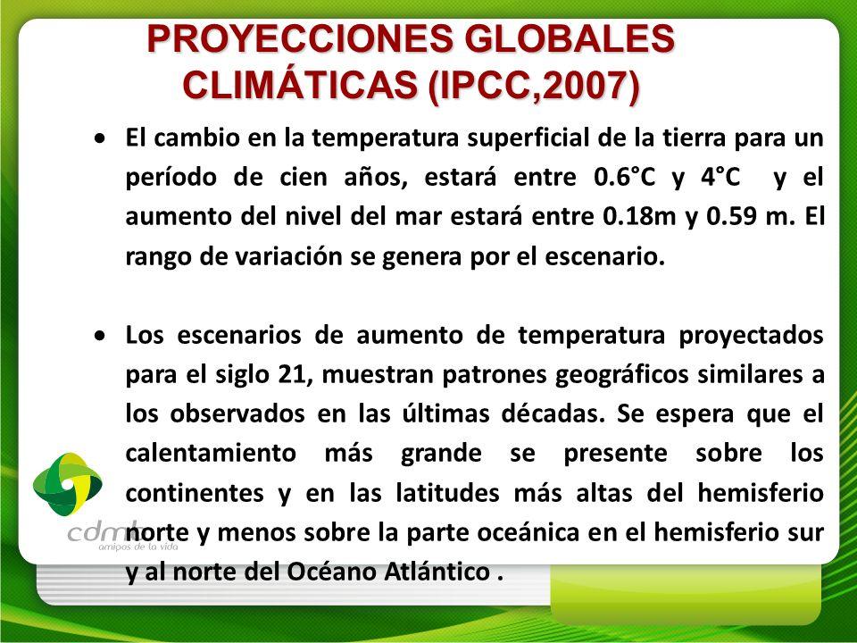 PROYECCIONES GLOBALES CLIMÁTICAS (IPCC,2007) El cambio en la temperatura superficial de la tierra para un período de cien años, estará entre 0.6°C y 4