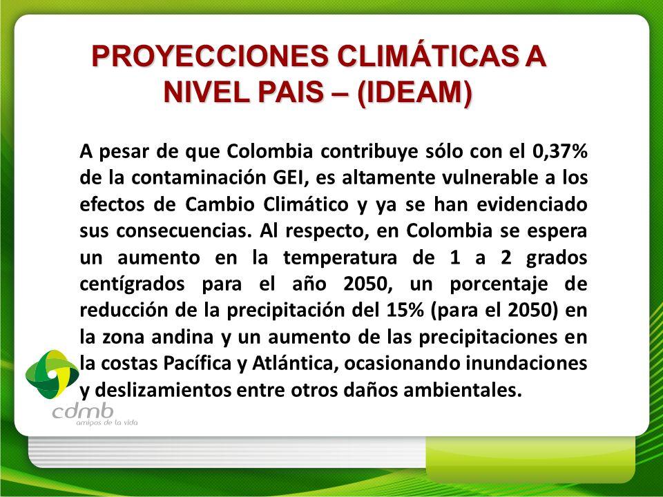 PROYECCIONES CLIMÁTICAS A NIVEL PAIS – (IDEAM) A pesar de que Colombia contribuye sólo con el 0,37% de la contaminación GEI, es altamente vulnerable a