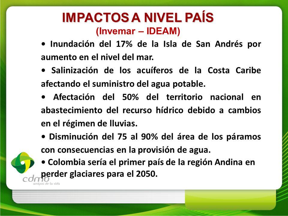 IMPACTOS A NIVEL PAÍS (Invemar – IDEAM) Inundación del 17% de la Isla de San Andrés por aumento en el nivel del mar. Salinización de los acuíferos de
