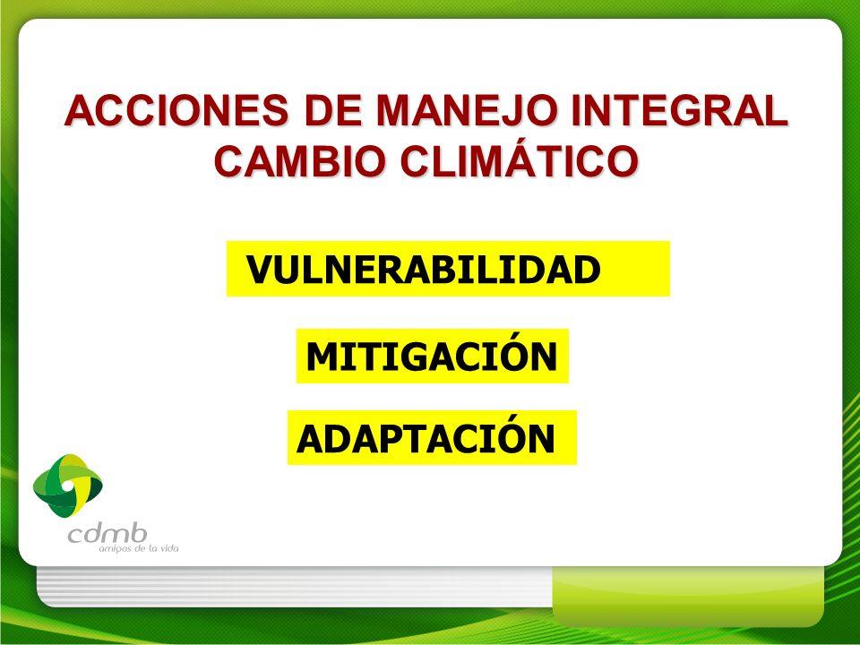 ACCIONES DE MANEJO INTEGRAL CAMBIO CLIMÁTICO VULNERABILIDAD MITIGACIÓN ADAPTACIÓN