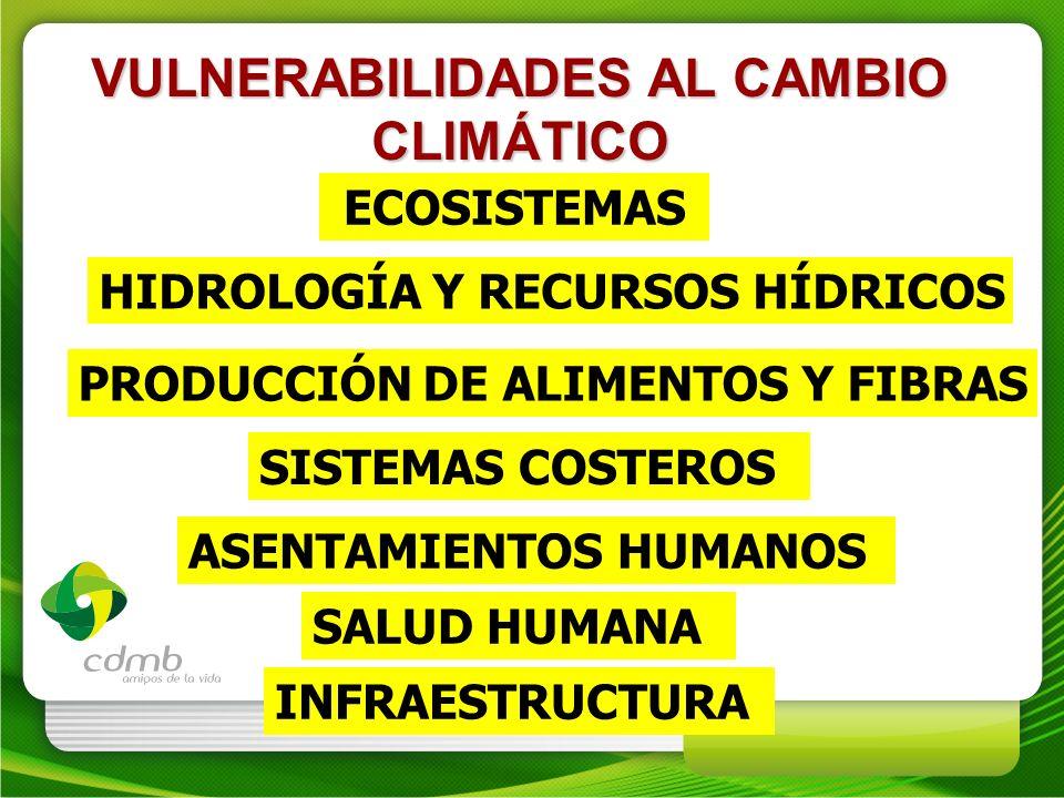 VULNERABILIDADES AL CAMBIO CLIMÁTICO ECOSISTEMAS HIDROLOGÍA Y RECURSOS HÍDRICOS PRODUCCIÓN DE ALIMENTOS Y FIBRAS SISTEMAS COSTEROS ASENTAMIENTOS HUMAN