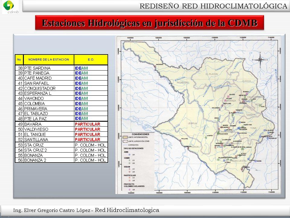 Estaciones Hidrológicas en jurisdicción de la CDMB Ing. Elver Gregorio Castro López – Red Hidroclimatologica REDISEÑO RED HIDROCLIMATOLÓGICA