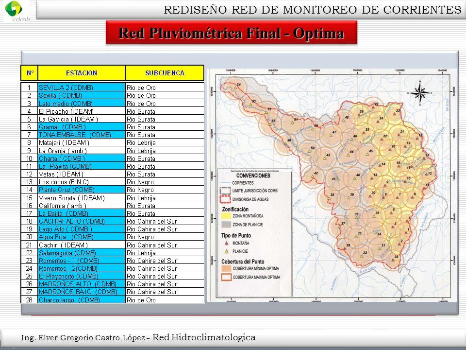 Red Pluviométrica Final - Optima Ing. Elver Gregorio Castro López – Red Hidroclimatologica REDISEÑO RED DE MONITOREO DE CORRIENTES