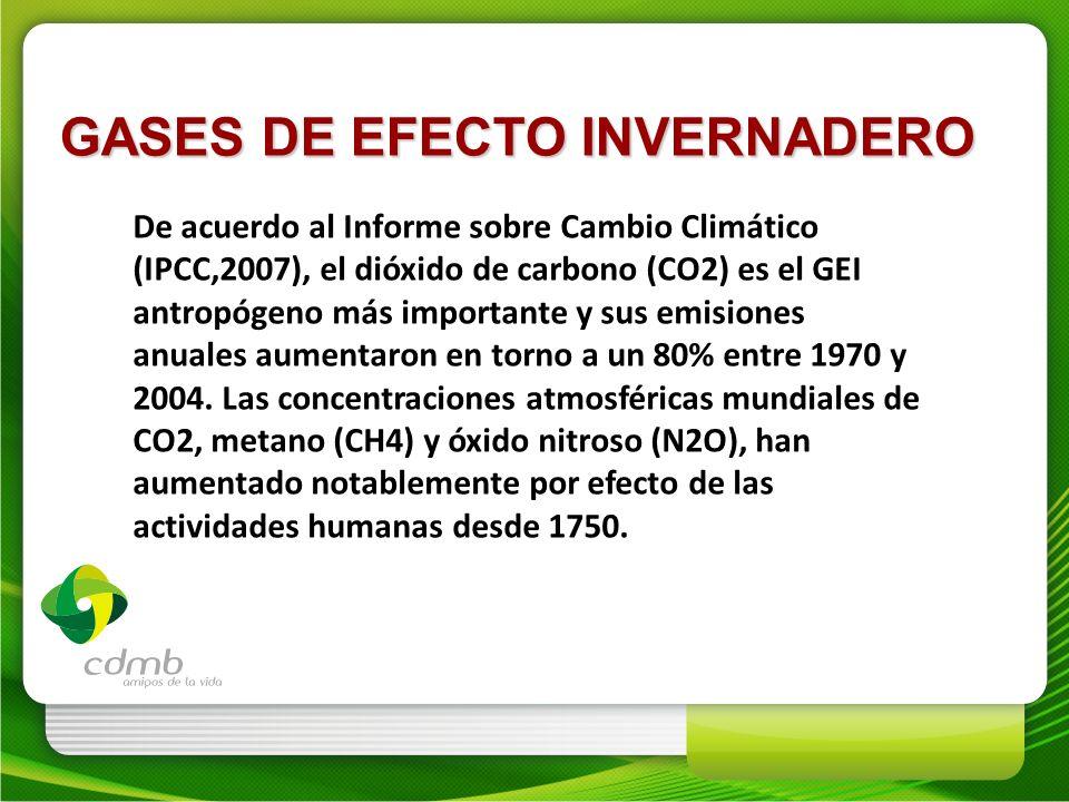 De acuerdo al Informe sobre Cambio Climático (IPCC,2007), el dióxido de carbono (CO2) es el GEI antropógeno más importante y sus emisiones anuales aum