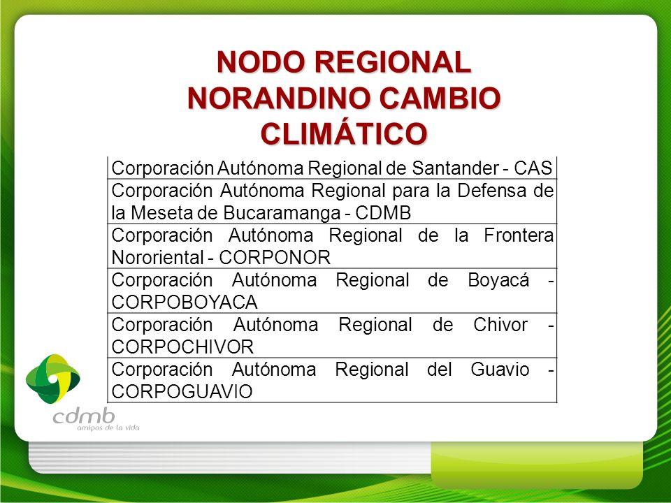 NODO REGIONAL NORANDINO CAMBIO CLIMÁTICO Corporación Autónoma Regional de Santander - CAS Corporación Autónoma Regional para la Defensa de la Meseta d