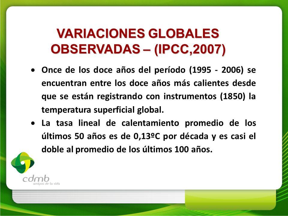 Once de los doce años del período (1995 - 2006) se encuentran entre los doce años más calientes desde que se están registrando con instrumentos (1850)