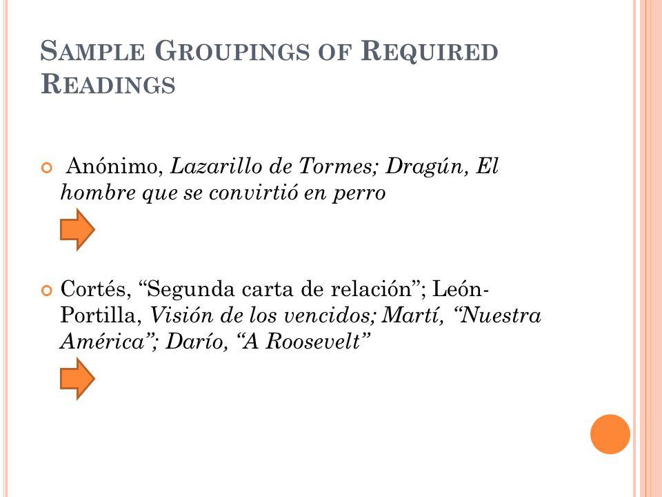 S AMPLE G ROUPINGS OF R EQUIRED R EADINGS Anónimo, Lazarillo de Tormes; Dragún, El hombre que se convirtió en perro Cortés, Segunda carta de relación;