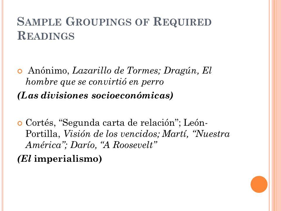 S AMPLE G ROUPINGS OF R EQUIRED R EADINGS Anónimo, Lazarillo de Tormes; Dragún, El hombre que se convirtió en perro (Las divisiones socioeconómicas) C