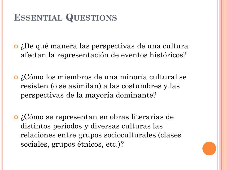 E SSENTIAL Q UESTIONS ¿De qué manera las perspectivas de una cultura afectan la representación de eventos históricos? ¿Cómo los miembros de una minorí