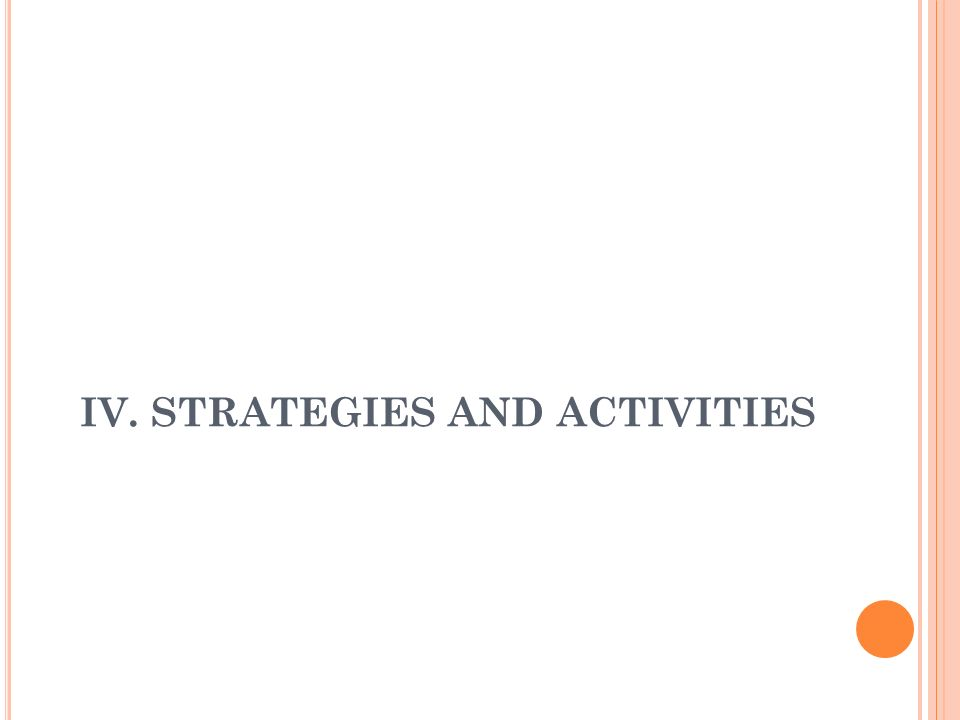 IV. STRATEGIES AND ACTIVITIES