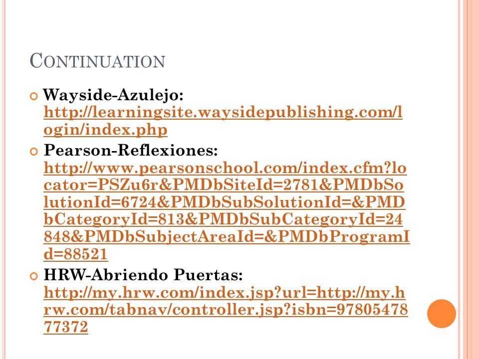 C ONTINUATION Wayside-Azulejo: http://learningsite.waysidepublishing.com/l ogin/index.php http://learningsite.waysidepublishing.com/l ogin/index.php P