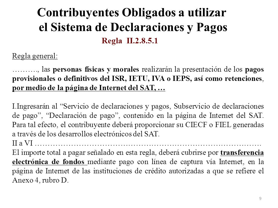 Contribuyentes Obligados a utilizar el Sistema de Declaraciones y Pagos Formas de pago (Reglas I.2.11.1 y II.2.8.5.1) 20
