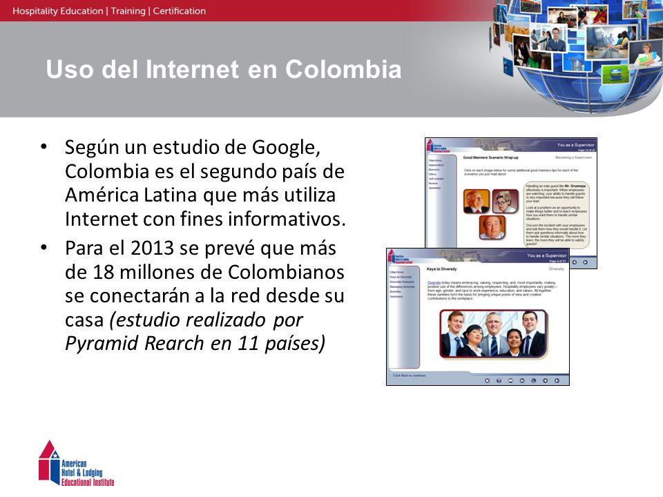 09-03397 Uso del Internet en Colombia Según un estudio de Google, Colombia es el segundo país de América Latina que más utiliza Internet con fines inf