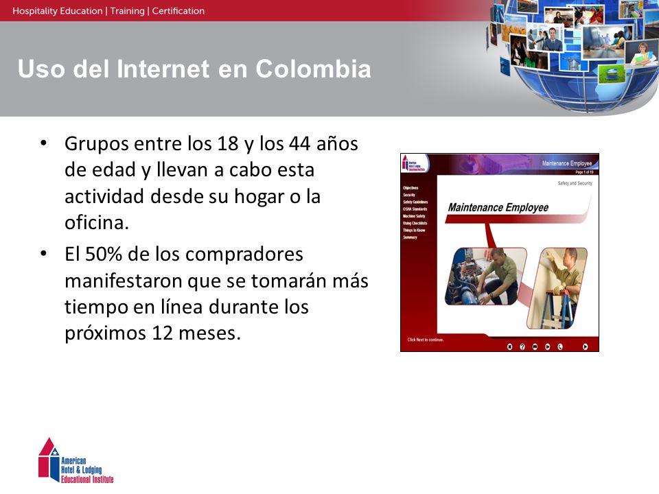09-03397 Uso del Internet en Colombia Grupos entre los 18 y los 44 años de edad y llevan a cabo esta actividad desde su hogar o la oficina. El 50% de