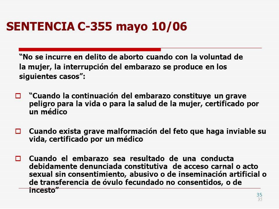35 SENTENCIA C-355 mayo 10/06 No se incurre en delito de aborto cuando con la voluntad de la mujer, la interrupción del embarazo se produce en los sig