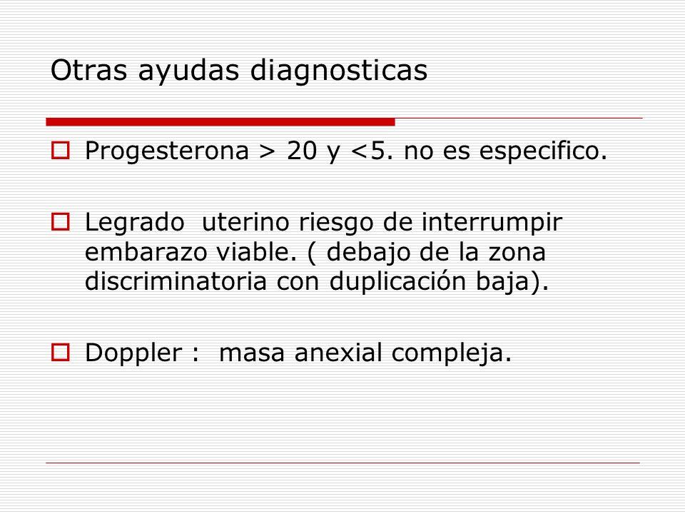 Otras ayudas diagnosticas Progesterona > 20 y <5. no es especifico. Legrado uterino riesgo de interrumpir embarazo viable. ( debajo de la zona discrim