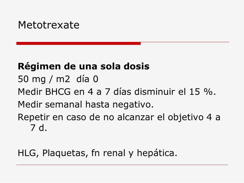 Metotrexate Régimen de una sola dosis 50 mg / m2 día 0 Medir BHCG en 4 a 7 días disminuir el 15 %. Medir semanal hasta negativo. Repetir en caso de no
