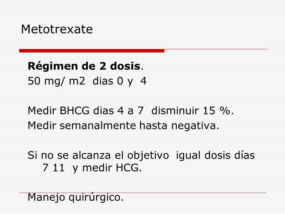 Metotrexate Régimen de 2 dosis. 50 mg/ m2 dias 0 y 4 Medir BHCG dias 4 a 7 disminuir 15 %. Medir semanalmente hasta negativa. Si no se alcanza el obje