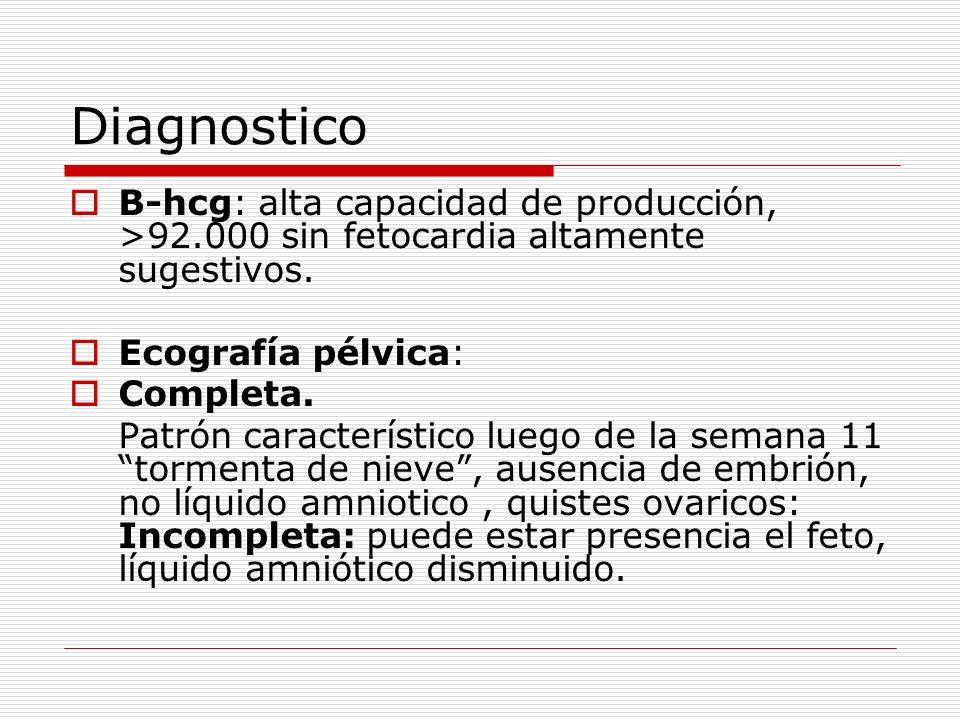 Diagnostico B-hcg: alta capacidad de producción, >92.000 sin fetocardia altamente sugestivos. Ecografía pélvica: Completa. Patrón característico luego
