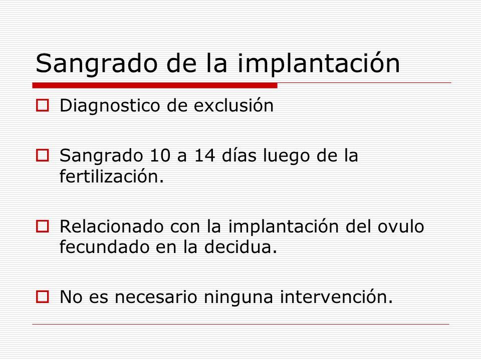 Sangrado de la implantación Diagnostico de exclusión Sangrado 10 a 14 días luego de la fertilización. Relacionado con la implantación del ovulo fecund