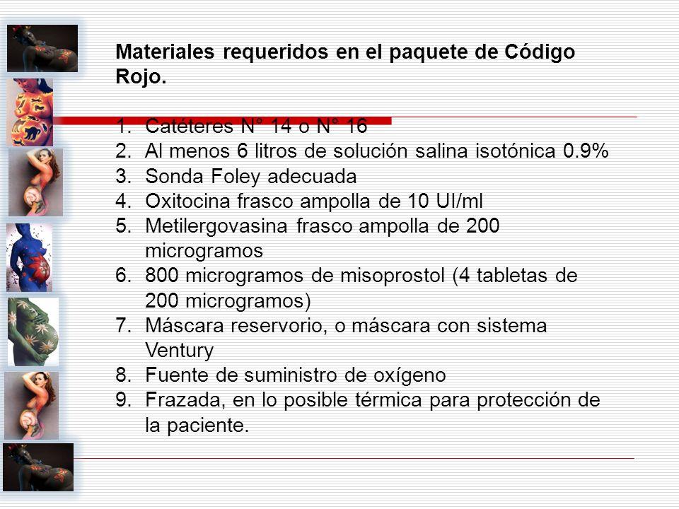 Materiales requeridos en el paquete de Código Rojo. 1.Catéteres N° 14 o N° 16 2.Al menos 6 litros de solución salina isotónica 0.9% 3.Sonda Foley adec