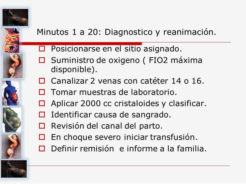 Minutos 1 a 20: Diagnostico y reanimación. Posicionarse en el sitio asignado. Suministro de oxigeno ( FIO2 máxima disponible). Canalizar 2 venas con c