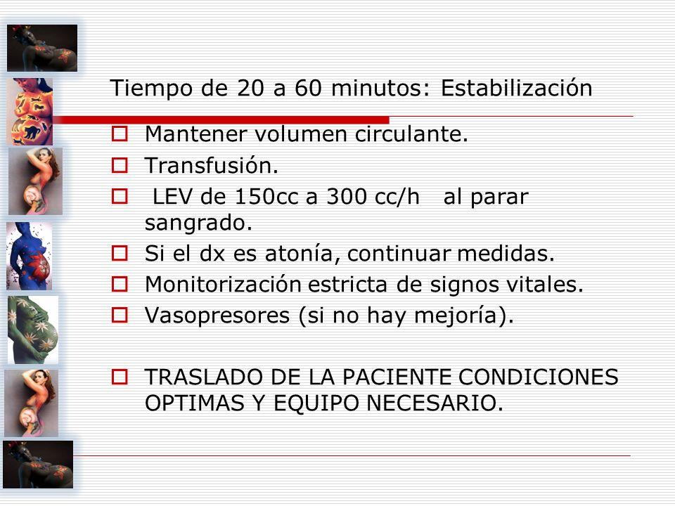 Tiempo de 20 a 60 minutos: Estabilización Mantener volumen circulante. Transfusión. LEV de 150cc a 300 cc/h al parar sangrado. Si el dx es atonía, con