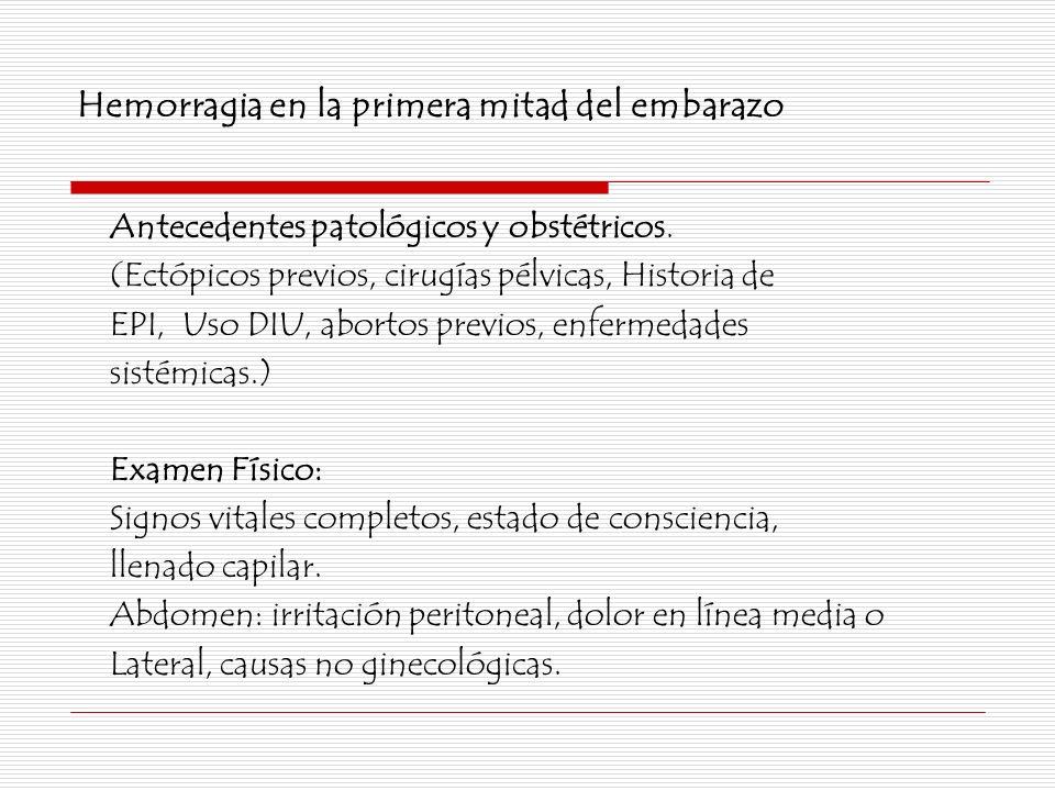 Hemorragia en la primera mitad del embarazo Antecedentes patológicos y obstétricos. (Ectópicos previos, cirugías pélvicas, Historia de EPI, Uso DIU, a