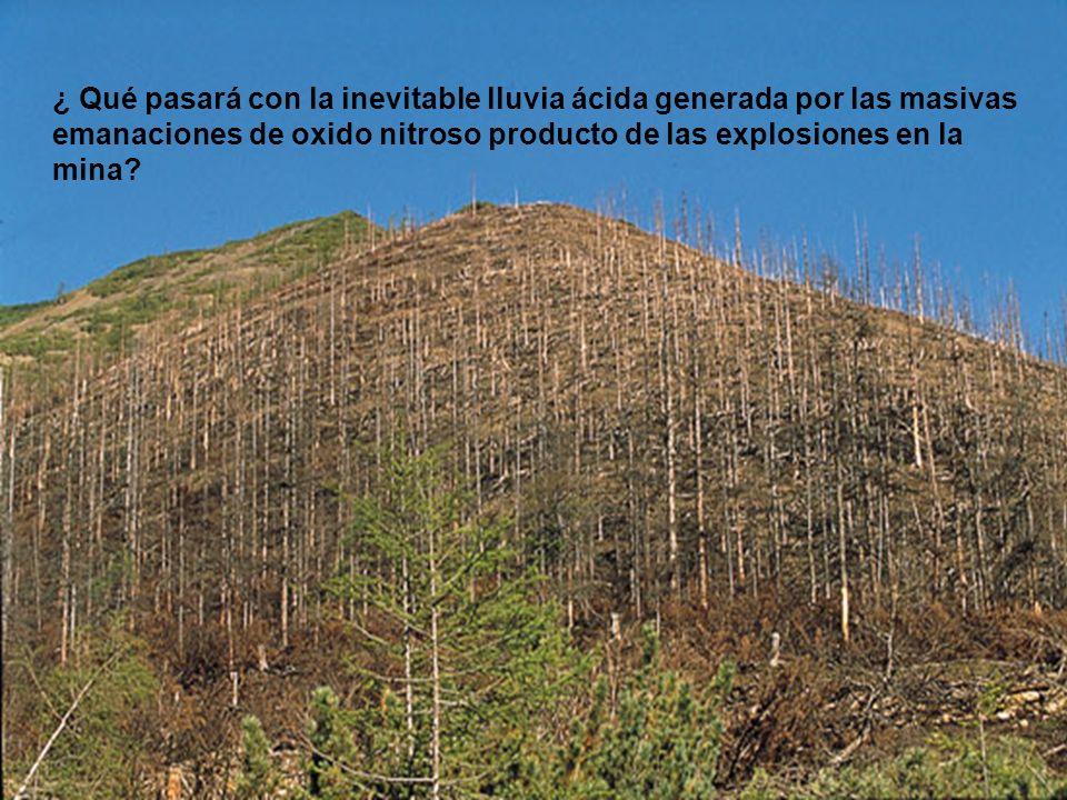 ¿ Qué pasará con la inevitable lluvia ácida generada por las masivas emanaciones de oxido nitroso producto de las explosiones en la mina?