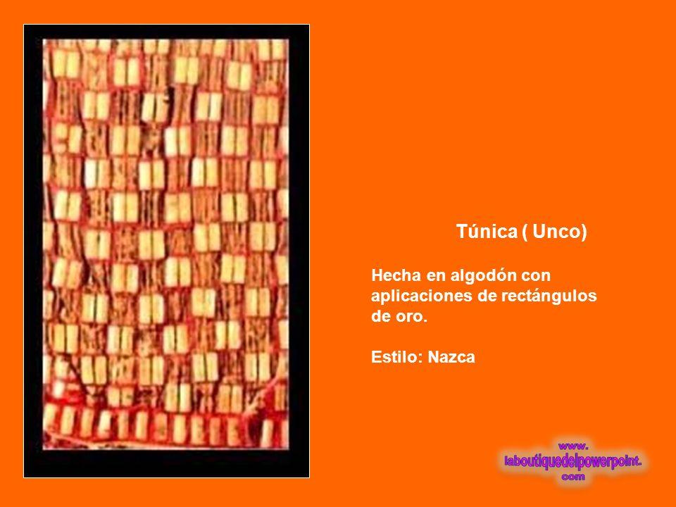 Palio ( Toldo ) De algodón teñido en color rojo con cuadraditos de oro cosido en forma de damero. Borlas en las esquinas. Estilo: Lambayeque
