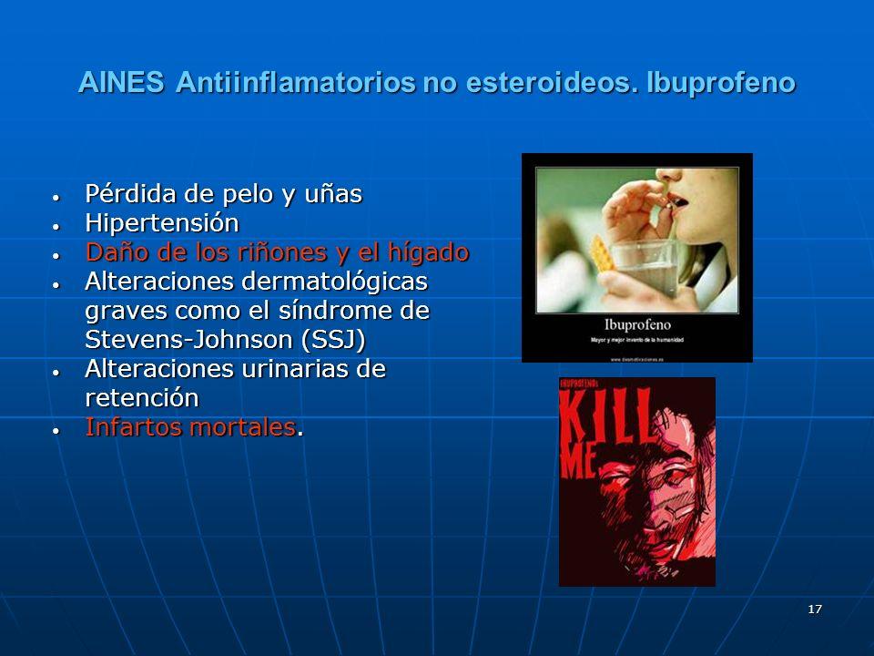 17 AINES Antiinflamatorios no esteroideos. Ibuprofeno Pérdida de pelo y uñas Pérdida de pelo y uñas Hipertensión Hipertensión Daño de los riñones y el