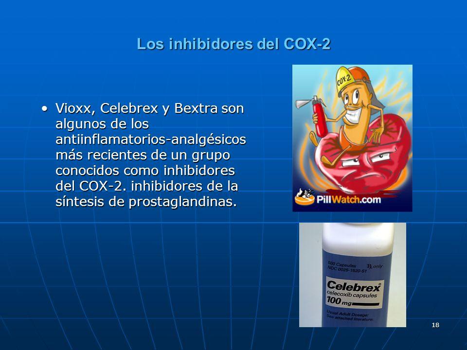 18 Los inhibidores del COX-2 Vioxx, Celebrex y Bextra son algunos de los antiinflamatorios-analgésicos más recientes de un grupo conocidos como inhibidores del COX-2.