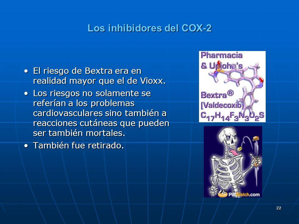 22 Los inhibidores del COX-2 El riesgo de Bextra era en realidad mayor que el de Vioxx.El riesgo de Bextra era en realidad mayor que el de Vioxx. Los
