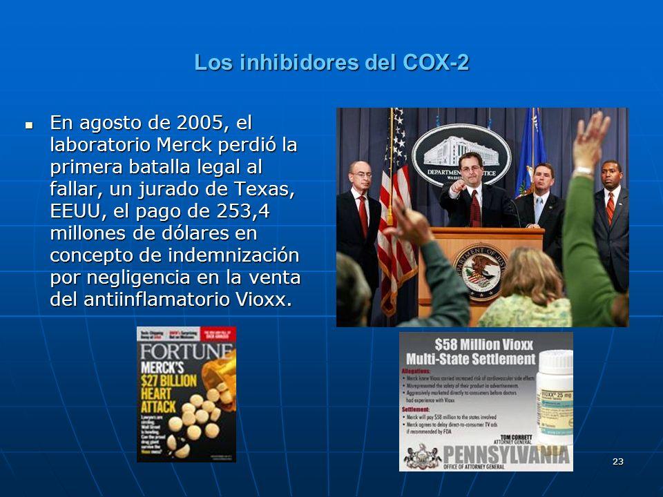 23 Los inhibidores del COX-2 En agosto de 2005, el laboratorio Merck perdió la primera batalla legal al fallar, un jurado de Texas, EEUU, el pago de 253,4 millones de dólares en concepto de indemnización por negligencia en la venta del antiinflamatorio Vioxx.