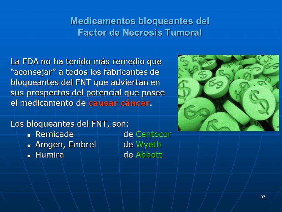 37 Medicamentos bloqueantes del Factor de Necrosis Tumoral La FDA no ha tenido más remedio que aconsejar a todos los fabricantes de bloqueantes del FNT que adviertan en sus prospectos del potencial que posee el medicamento de causar cáncer.