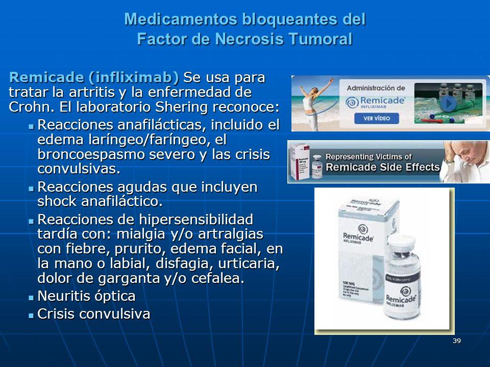 39 Medicamentos bloqueantes del Factor de Necrosis Tumoral Remicade (infliximab) Se usa para tratar la artritis y la enfermedad de Crohn.