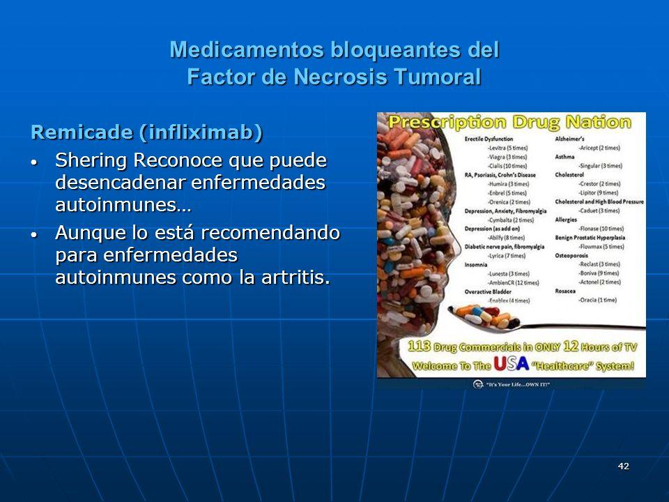 42 Medicamentos bloqueantes del Factor de Necrosis Tumoral Remicade (infliximab) Shering Reconoce que puede desencadenar enfermedades autoinmunes… Shering Reconoce que puede desencadenar enfermedades autoinmunes… Aunque lo está recomendando para enfermedades autoinmunes como la artritis.