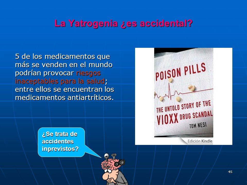 45 La Yatrogenia ¿es accidental? 5 de los medicamentos que más se venden en el mundo podrían provocar riesgos inaceptables para la salud; entre ellos