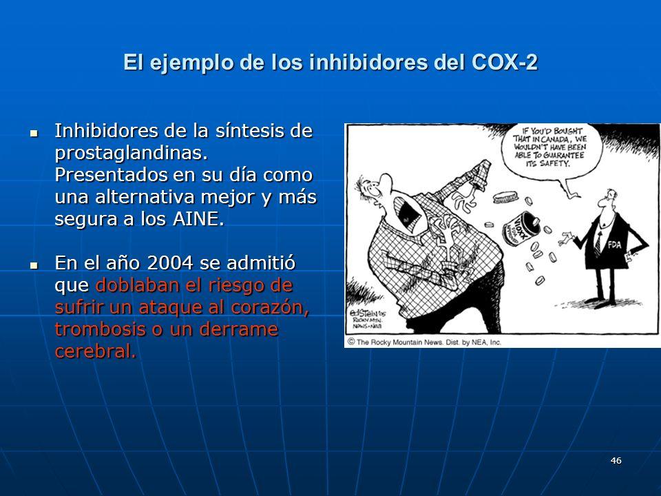 46 El ejemplo de los inhibidores del COX-2 Inhibidores de la síntesis de prostaglandinas. Presentados en su día como una alternativa mejor y más segur