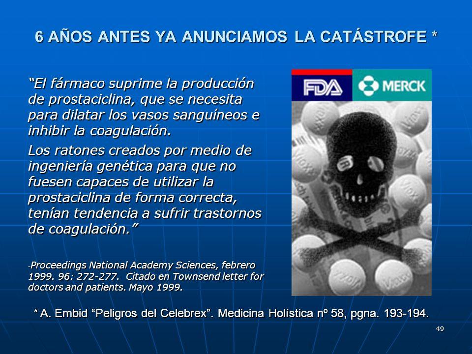 49 6 AÑOS ANTES YA ANUNCIAMOS LA CATÁSTROFE * El fármaco suprime la producción de prostaciclina, que se necesita para dilatar los vasos sanguíneos e inhibir la coagulación.