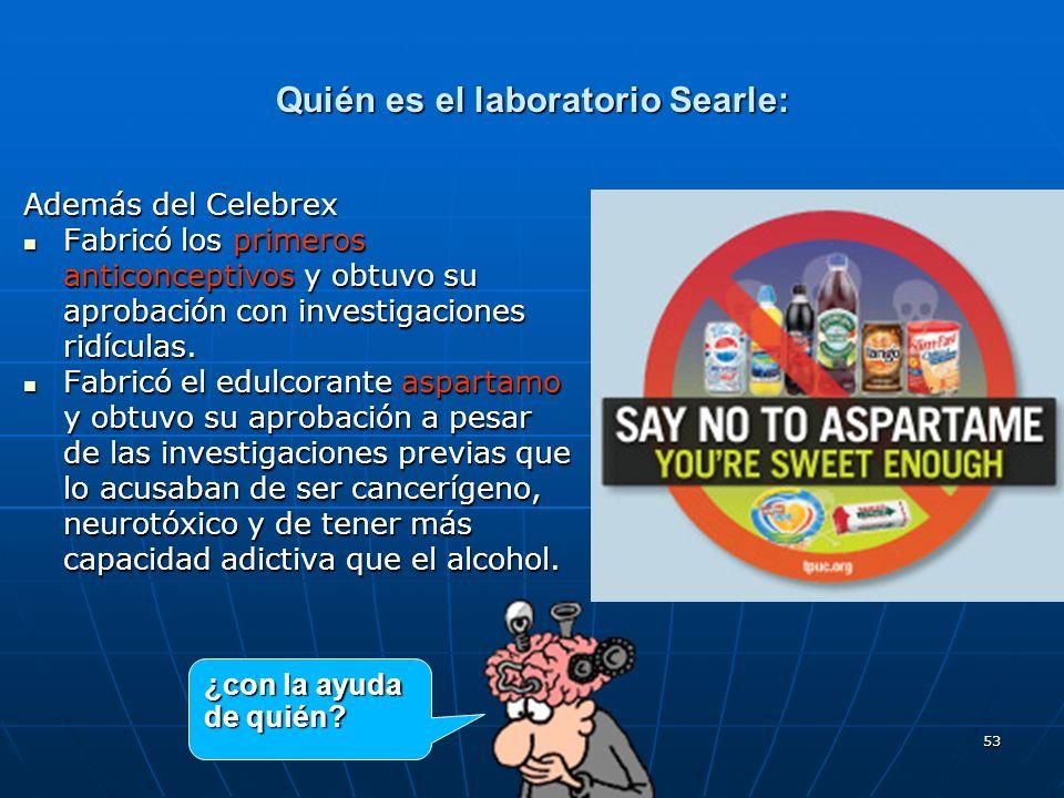 53 Quién es el laboratorio Searle: Además del Celebrex Fabricó los primeros anticonceptivos y obtuvo su aprobación con investigaciones ridículas. Fabr
