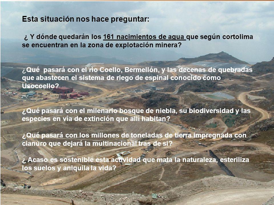 Esta situación nos hace preguntar: ¿ Y dónde quedarán los 161 nacimientos de agua que según cortolima se encuentran en la zona de explotación minera.