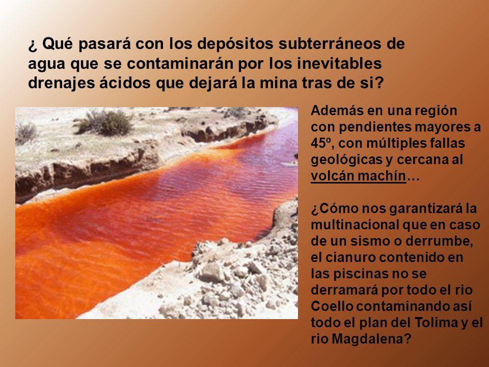 ¿ Qué pasará con los depósitos subterráneos de agua que se contaminarán por los inevitables drenajes ácidos que dejará la mina tras de si.