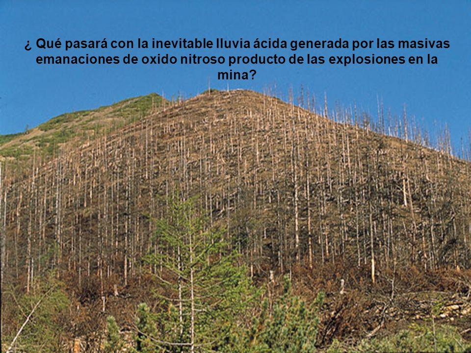 ¿ Qué pasará con la inevitable lluvia ácida generada por las masivas emanaciones de oxido nitroso producto de las explosiones en la mina