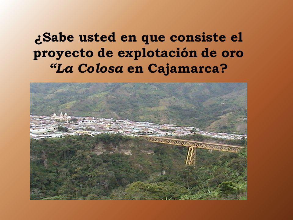 ¿Sabe usted en que consiste el proyecto de explotación de oro La Colosa e n Cajamarca